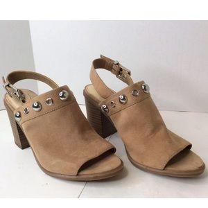 Circus SAM EDELMAN Tan Open Toe Mules Heel Shoes 6